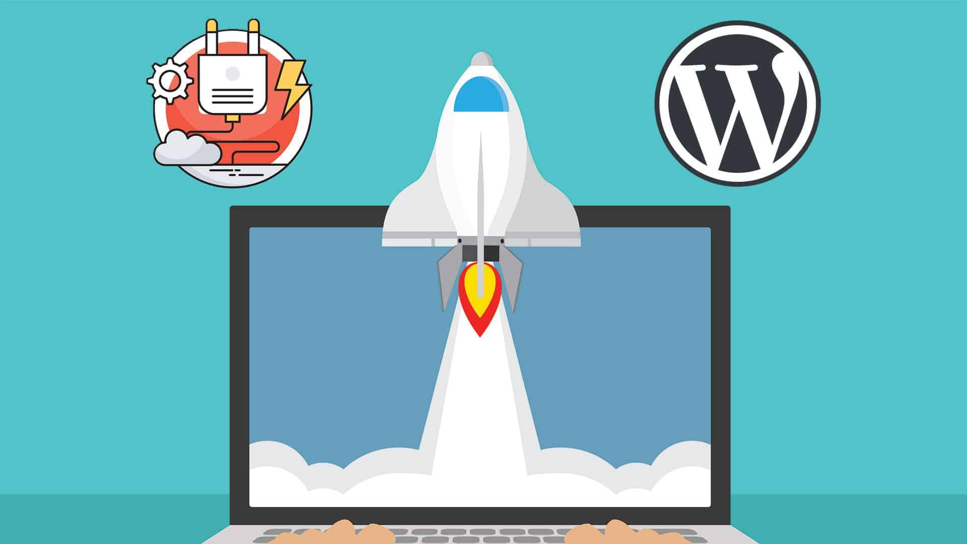 Rocketship speeding up WordPress
